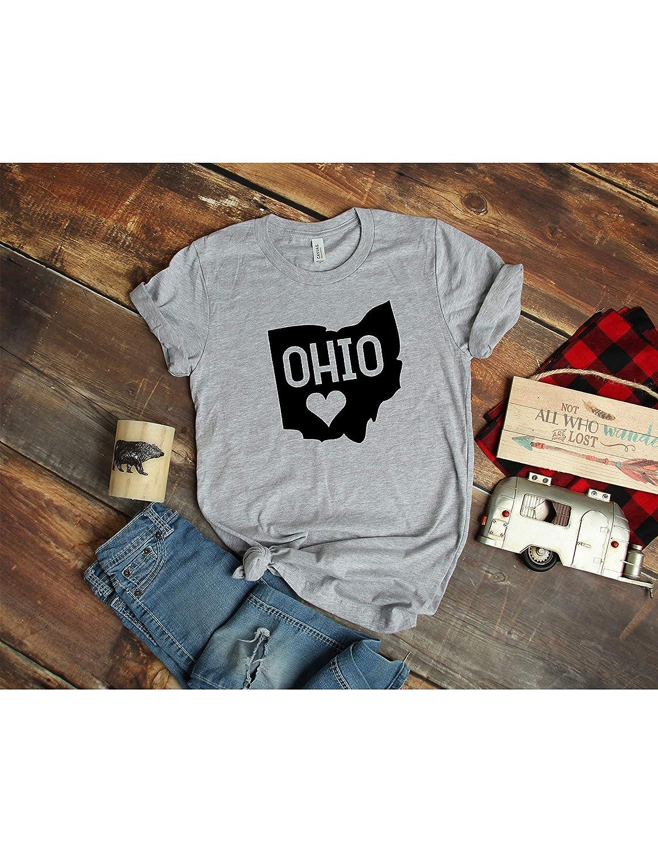 Ohio State T Shirt Womens T-Shirt Casual Top Graphic Tee Short Sleeve Shirt Love Ohio T Shirt State Pride T-Shirt