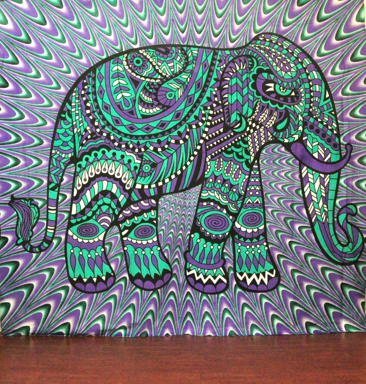 Amazon.com: Psychedelic Elephant Tapestry Trippy Colorful Mandala ...
