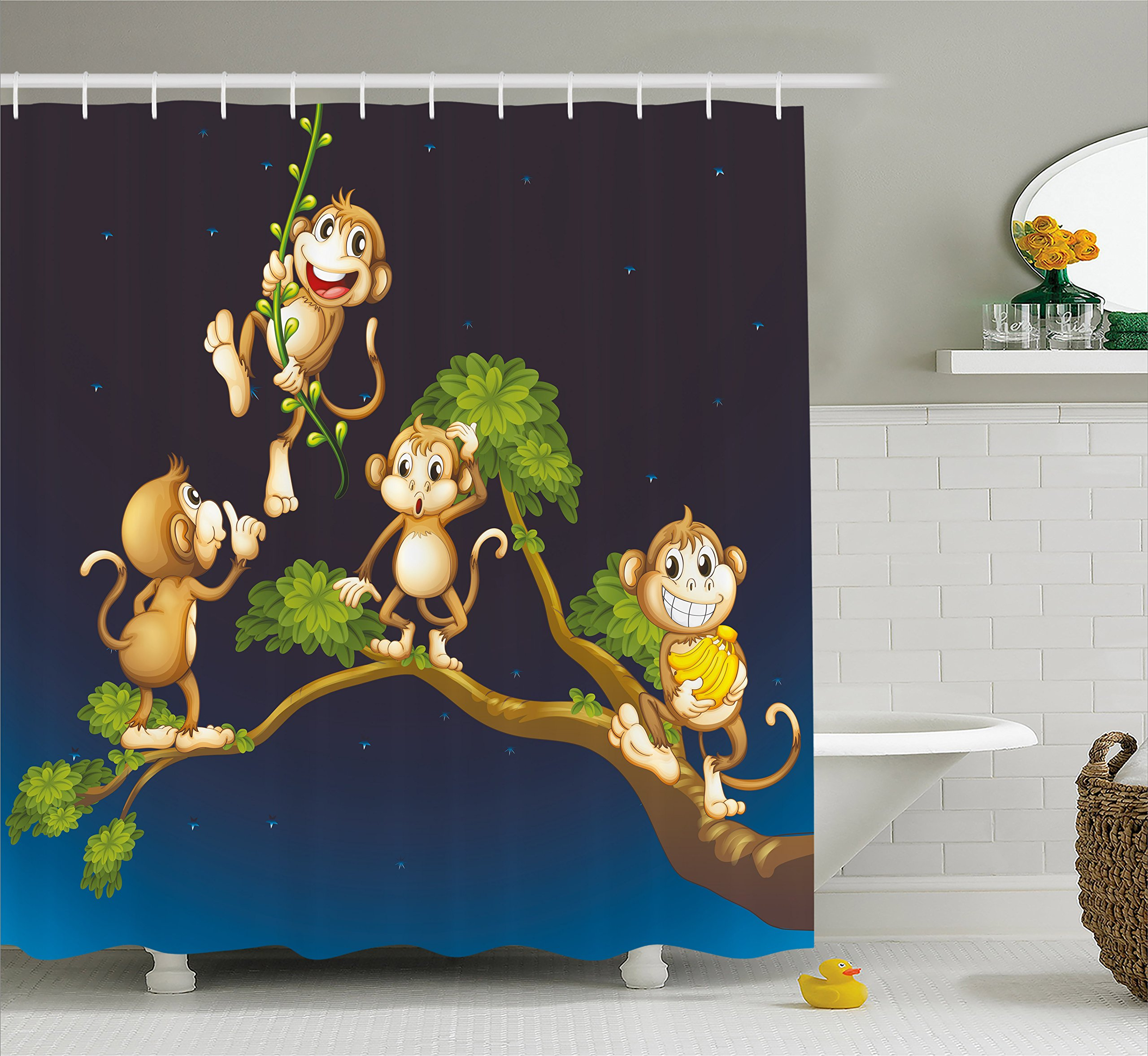 Ambesonne Nature Shower Curtain by, Animal Theme Illustration of Four Cute Monkeys on the Tree Branch Art, Fabric Bathroom Decor Set with Hooks, 75 Inches Long, Caramel and Dark Blue