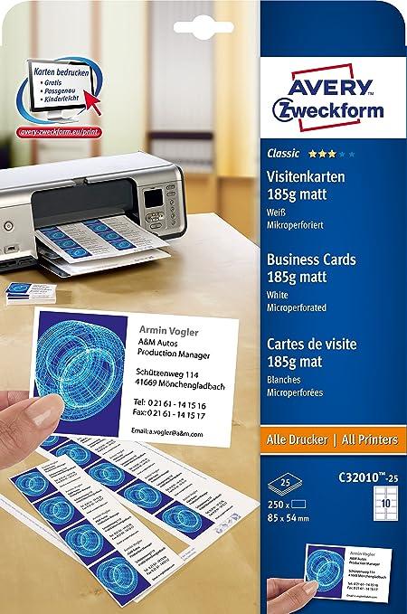 AVERY Zweckform C32010 25 Classic Visitenkarten 250 Stuck 85 X 54 Mm