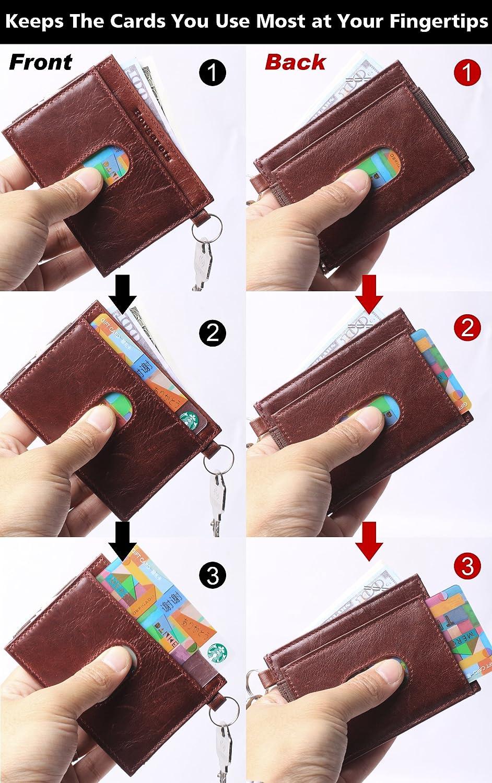 Slim Wallet RFID Blocking Front Pocket Wallet Minimalist Genuine Leather Secure Thin Credit Card Holder