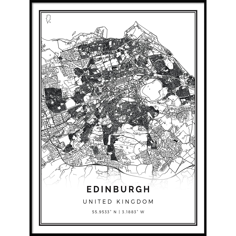 Map Of Uk Black And White.Amazon Com Squareious Edinburgh Map Poster Print Modern Black And