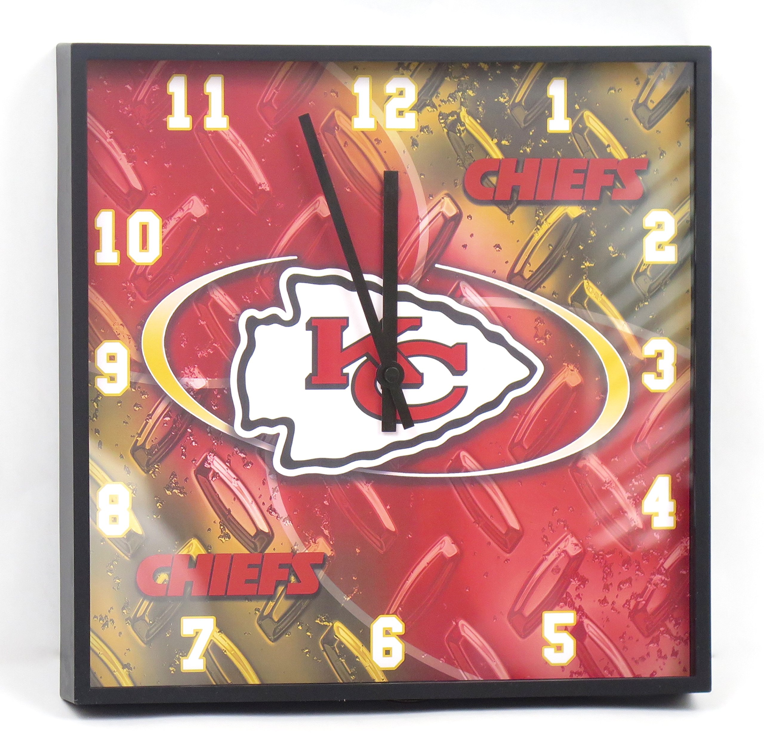 Kansas City Chiefs large square wall clock. Ideal for family room, man cave or office decor. Wonderful gift for dad on Father's Day.