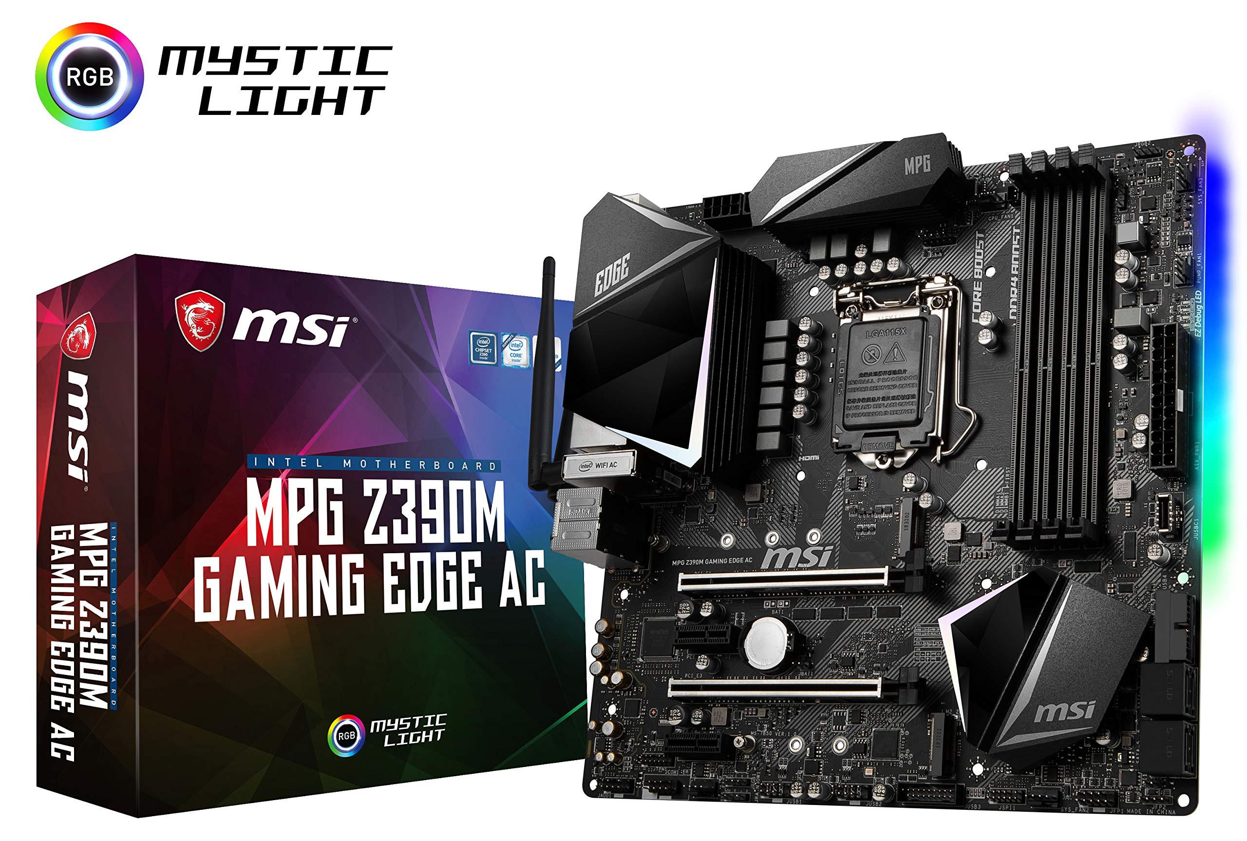 MSI MPG Z390M Gaming Edge AC LGA1151 (Intel 8th and 9th Gen) M.2 USB 3.1 Gen 2 DDR4 HDMI DP Wi-Fi SLI CFX Micro ATX Z390 Gaming Motherboard by MSI