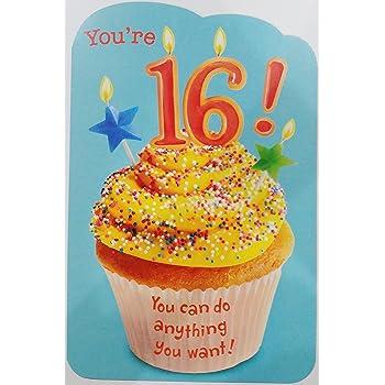 Amazon American Greetings Sweet 16 Birthday Card With Glitter