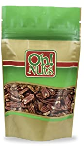 Pecans Dry Roasted Salted, Pecans NO OIL Roasted and Salted - Oh! Nuts (2 LB Pecans Dry Roasted & Salted)