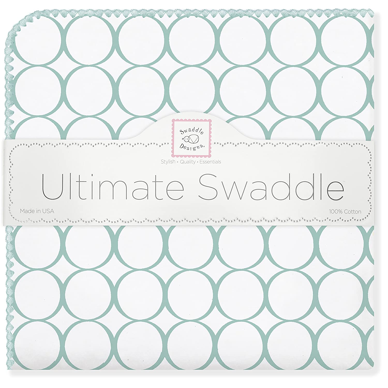 SwaddleDesigns Ultimate Swaddle, X-Large Receiving Blanket, Made in USA Premium Cotton Flannel, Sterling Mod Circles on Sunwashed Yellow (Mom's Choice Award Winner) Sterling Mod Circles on Sunwashed Yellow (Mom' s Choice Award Winner) SD-350SY