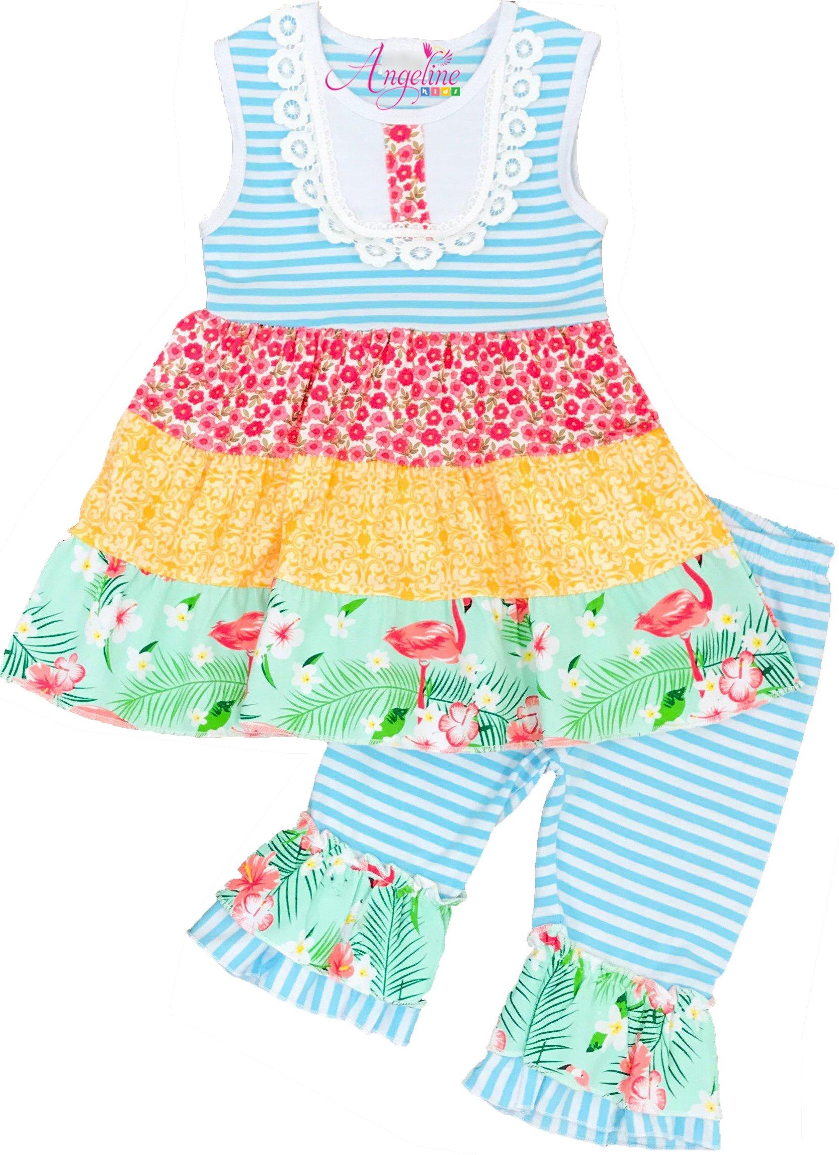 Toddler Little Girls Summer Flamingo Aqua Stripes Ruffle Capri Set 6/XXL