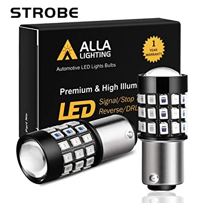 Alla Lighting BAY15D 1157 LED Strobe Brake Lights Bulbs Super Bright 12V 2835-SMD Car Truck Motorcycle Red Flashing Stop Light Replacement 7528 2357 2057 3496: Automotive