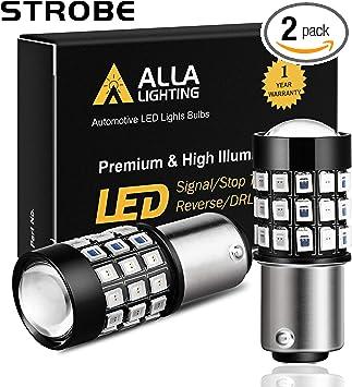 6000K Xenon White Alla Lighting BAY15D 7528 1157 Strobe Brake Lights LED Bulbs Super Bright 2357 2057 1157 Flashing Strobe LED Bulbs High Power 1157 Strobe Brake Stop Light Bulbs Set of 2