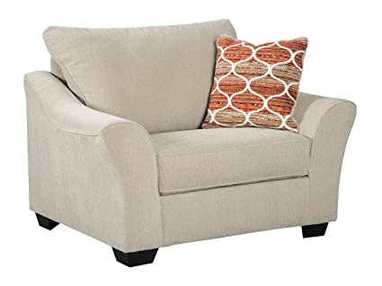 Benchcraft   Lisle Nuvella Contemporary Chair And A Half   Oversized Accent  Chair   Tawny Beige