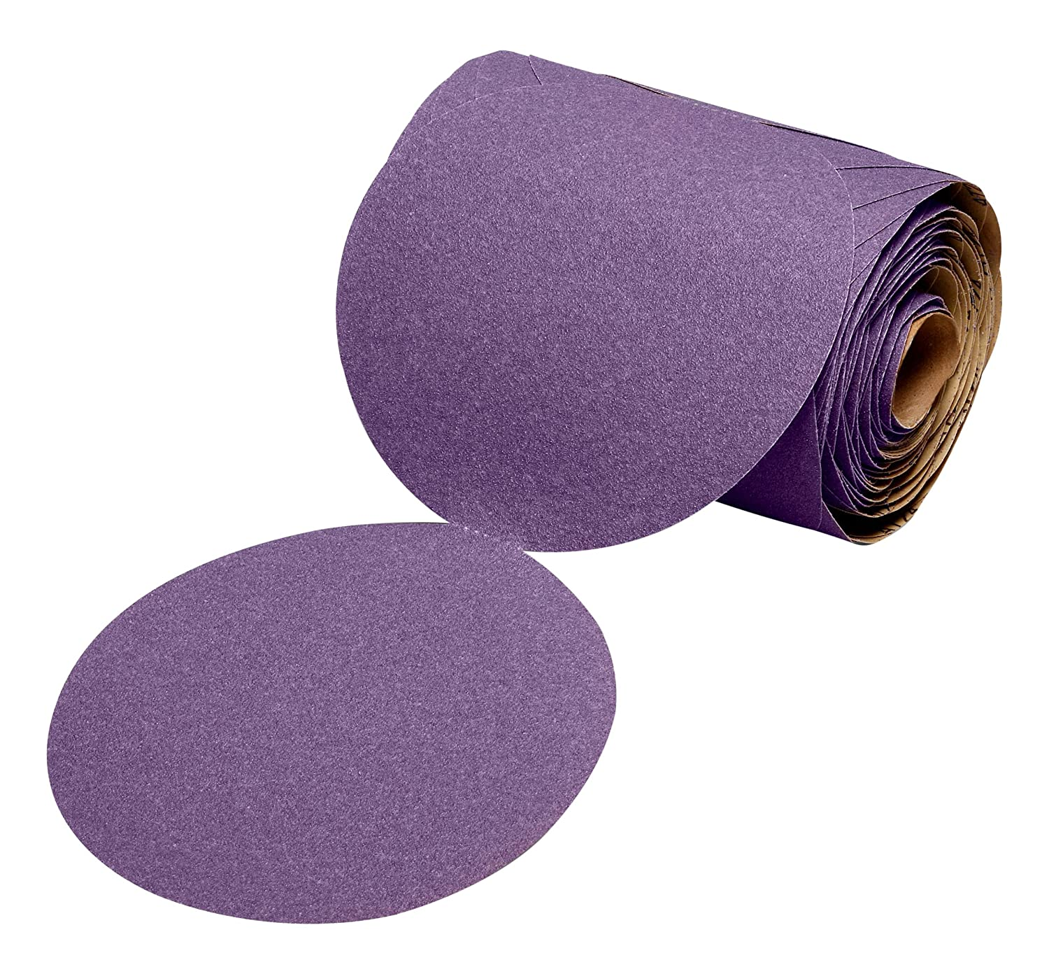 "Cubitron II 64280 3M Stikit Film Disc Roll 775L, 5 in x NH 180+ Film 3 MIL, 100 Discs per roll, Film, Backing, Precision Shaped Ceramic Grain, 5"", Purple 9162gTyb4cL._SL1500_"