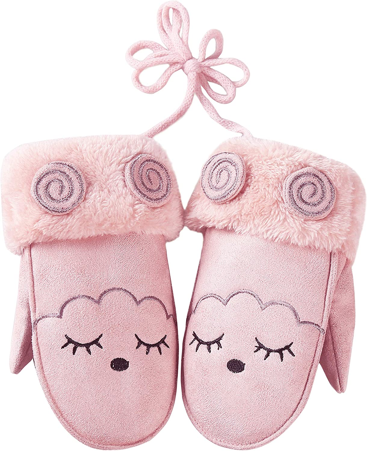 Toddler Kids Girls Boys Winter Faux Suede Mittens Cute Warm Fleece Lined Gloves with String
