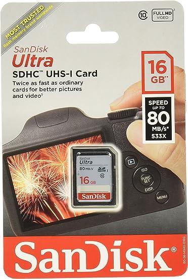Sandisk Ultra SDHC 16GB 80MB//S C10 Flash Memory Card SDSDUNC-016G-AN6IN