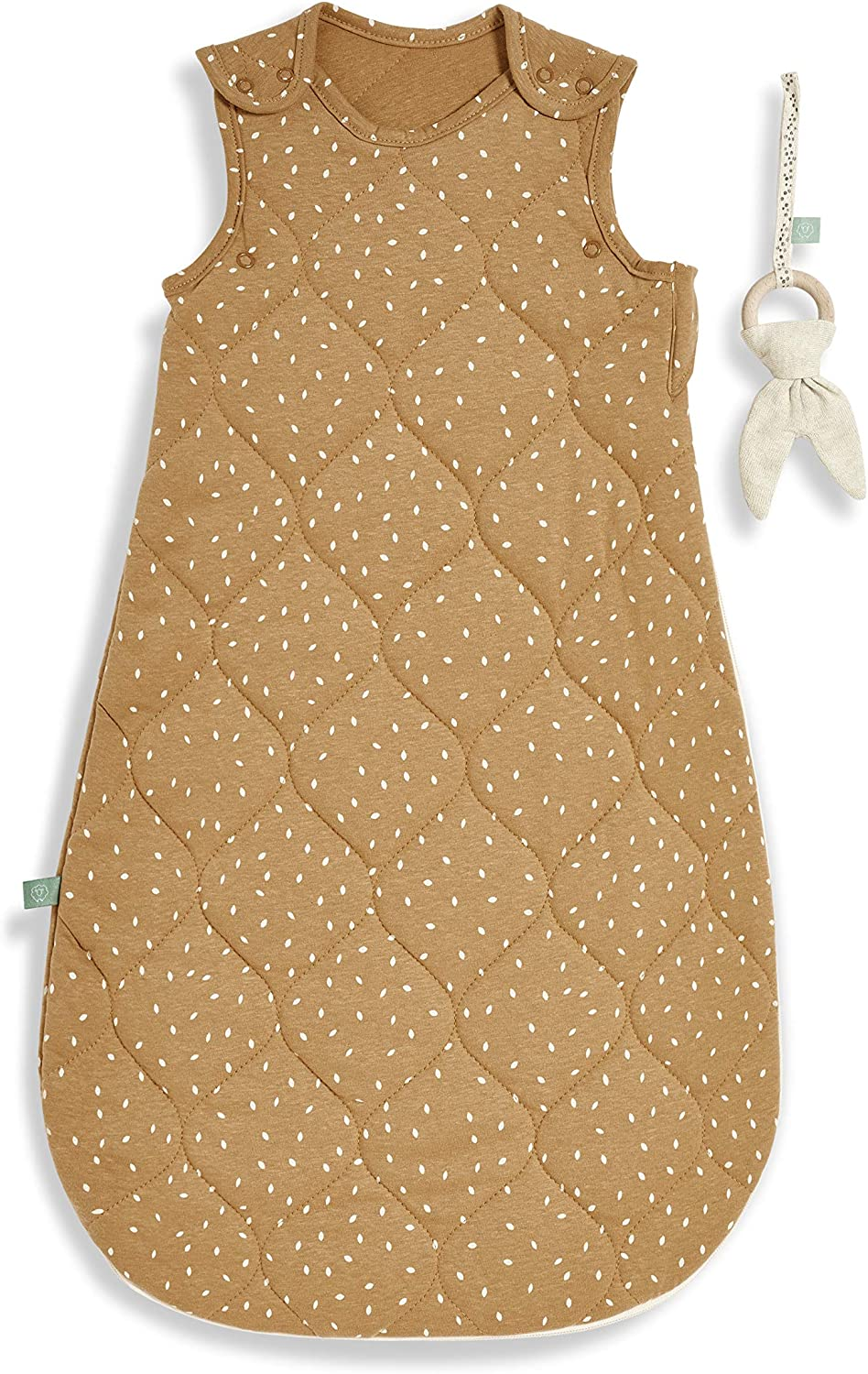 The Little Green Sheep Quilted Printed Linen Sleeping Bag 2.5 Tog 0-6 Months 350 g Honey with Linen Rice Print SB001BH
