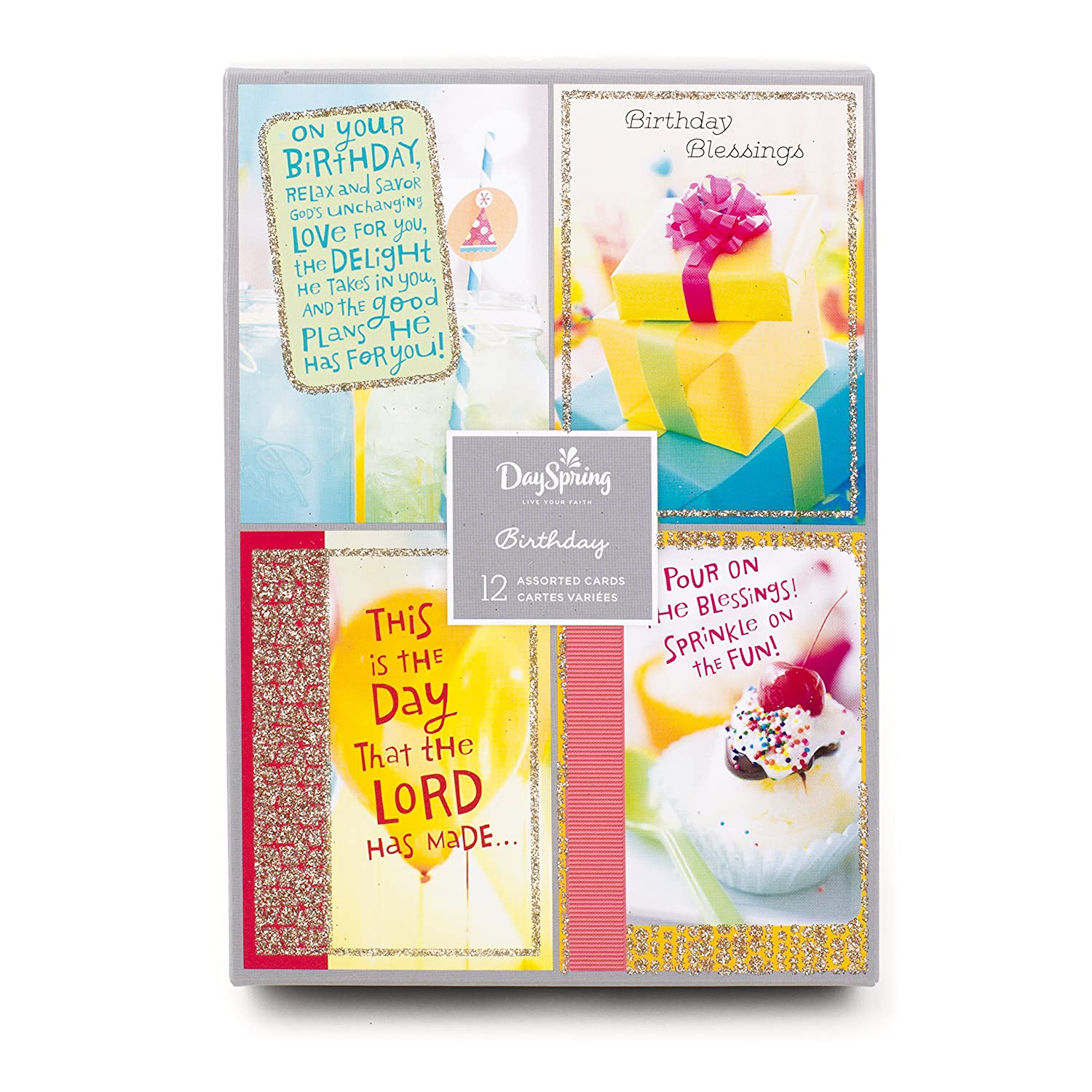 Amazon Assorted Religious Birthday Cards Dayspring Christian Blessings 12 And Envelopes Office Products