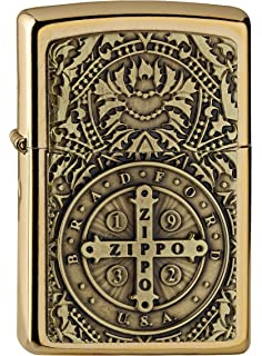 Zippo Mechero de gasolina, latón, aspecto de acero inoxidable, 1 x 6 x