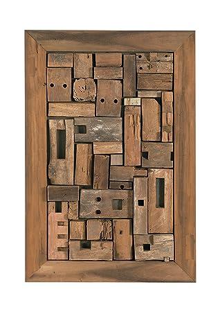 Wand-Deko aus recyceltem Teak-Holz 120x80 cm | Oceandrift | Holz ...