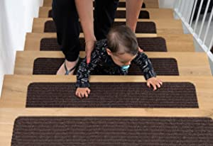 """EdenProducts Non Slip Carpet Stair Treads, Set of 15, Rug Non Skid Runner for Grip and Beauty. Safety Slip Resistant for Kids, Elders, and Dogs. 8"""" X 30"""", Brown, Pre Applied Adhesive"""