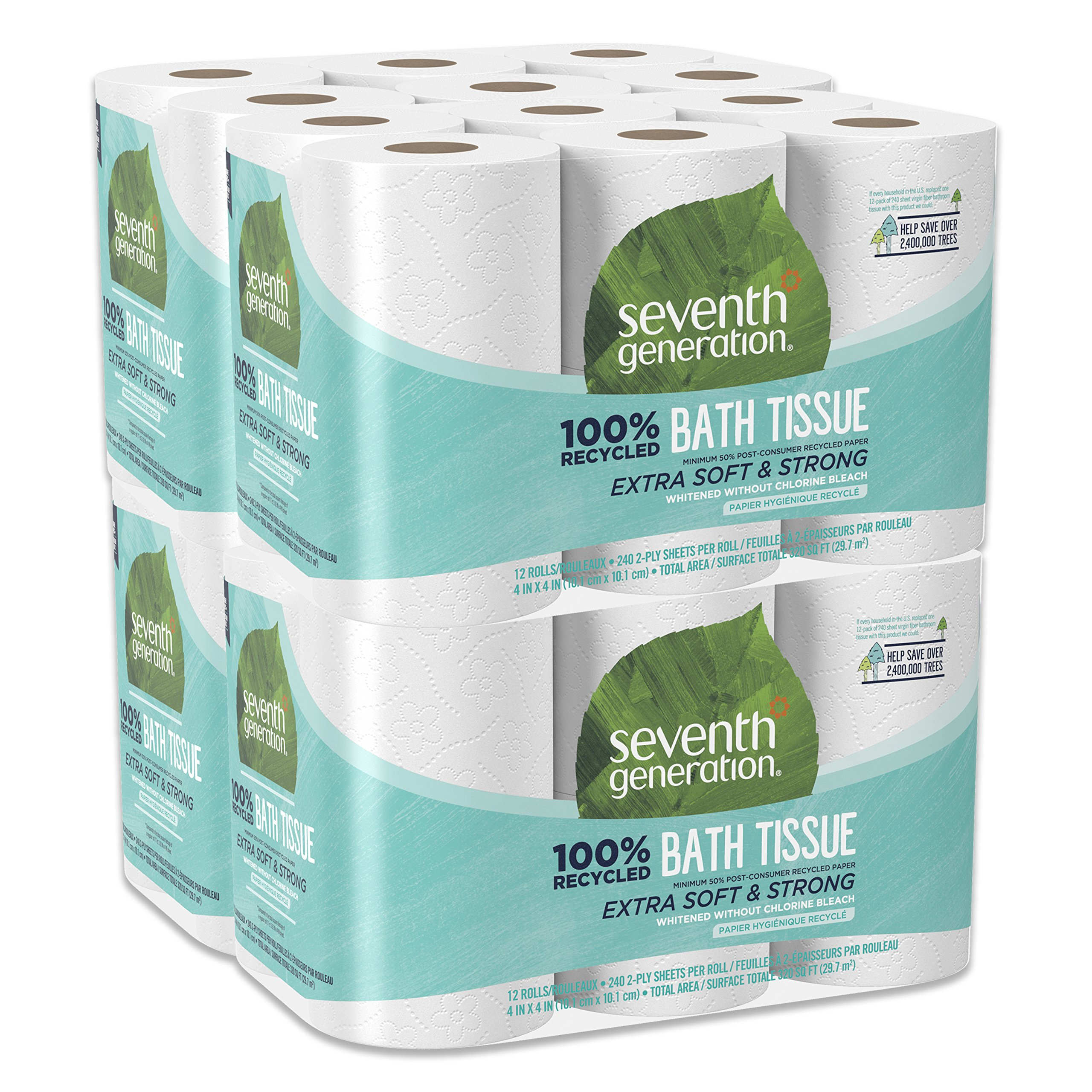 Seventh Generation Toilet Paper, Bath Tissue, 100% Recycled Paper, 48 Rolls (Packaging May Vary)