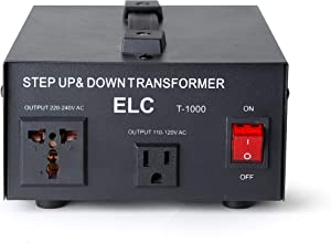 ELC T-1000+ 1000-Watt Voltage Converter Transformer - Step Up/Down - 110V/220V - Circuit Breaker Protection -Heavy Duty [3-Years Warranty]