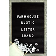 Farmhouse Wall Decor Felt Letter Board - 12 x 17 Inch Rustic Wood Frame, Black Felt with 374 Precut White Letters, Wall Hook, Canvas Bag, Stand - Great Shabby Chic Vintage Decor Message