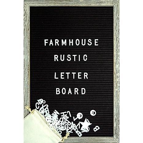 bd68f9d3587 Farmhouse Wall Decor Felt Letter Board - 12 x 17 Inch Rustic Wood Frame