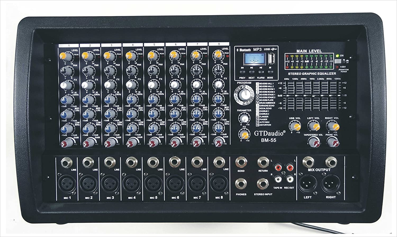 GTD-Audio 8 Channel 4000Watt Professional Powered Mixer Amplifier (1000 Watt RMS ) GTD Audio Inc BM-988