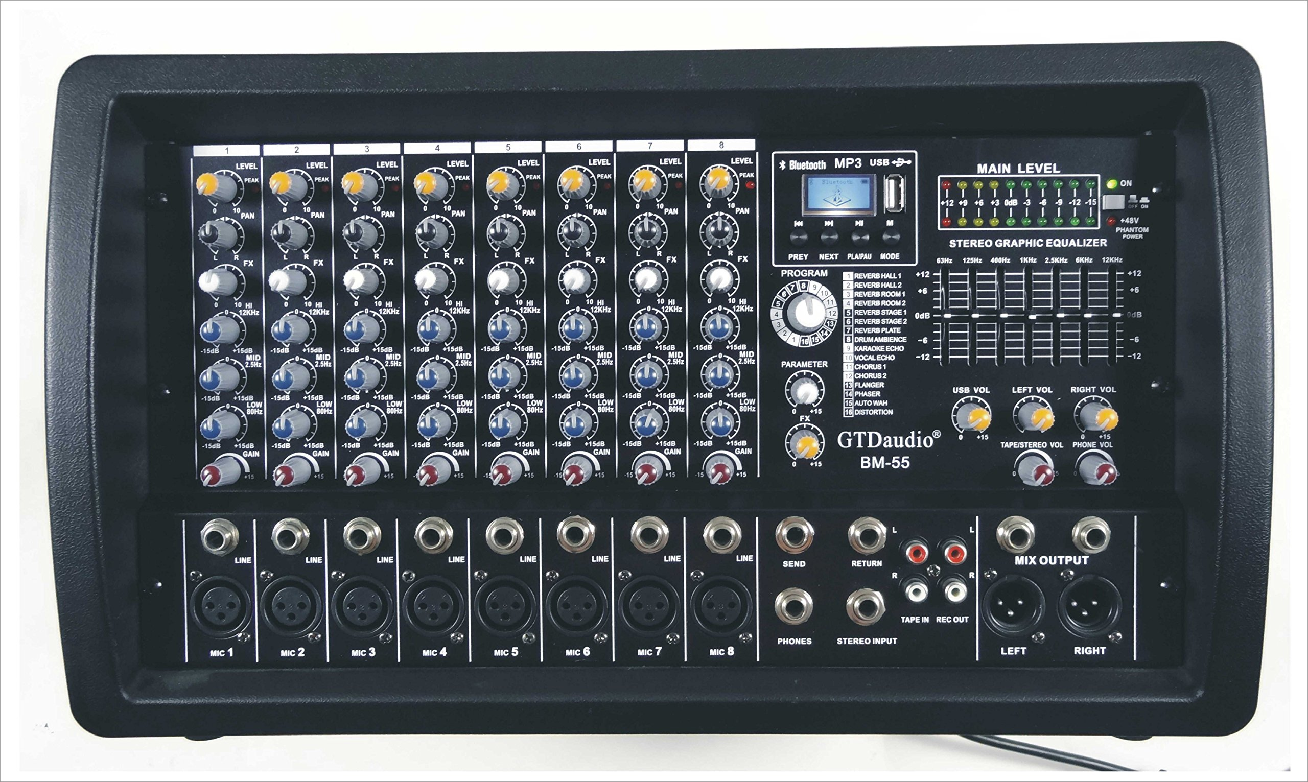 GTD-Audio 8 Channel 4000Watt Professional Powered Mixer Amplifier (1000 Watt RMS )