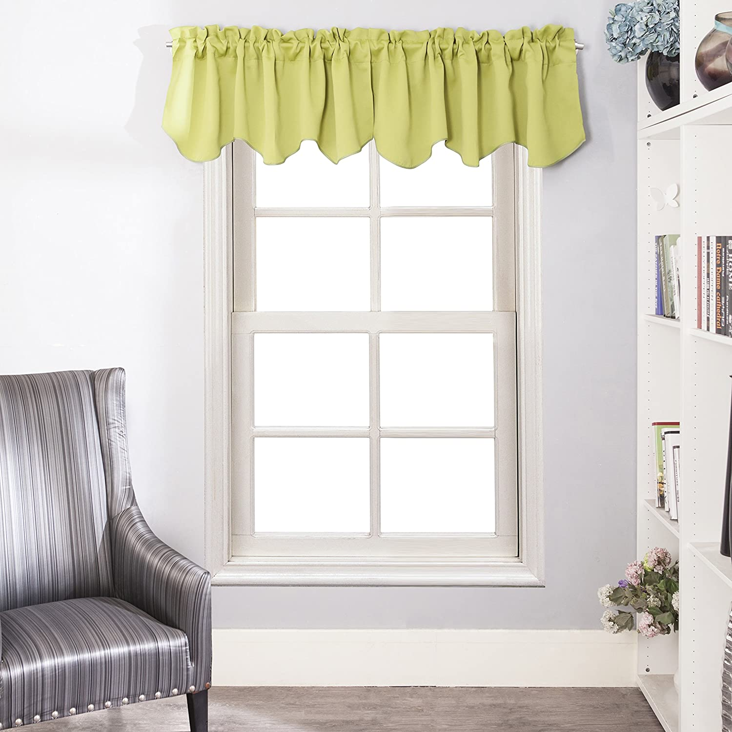 Rod Pocket Scalloped Valances for Kitchen - Aquazolax Blackout Curtains Window Treatments Valances