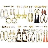 36 Pairs Gold Hoop Earrings Set with Pearl Tassel Acrylic Crystal Fashion Butterfly Dangle Drop Hoop Earrings for Women…