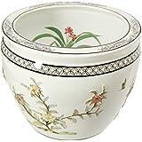 "Oriental Furniture 16"" White Birds & Flowers Fishbowl"