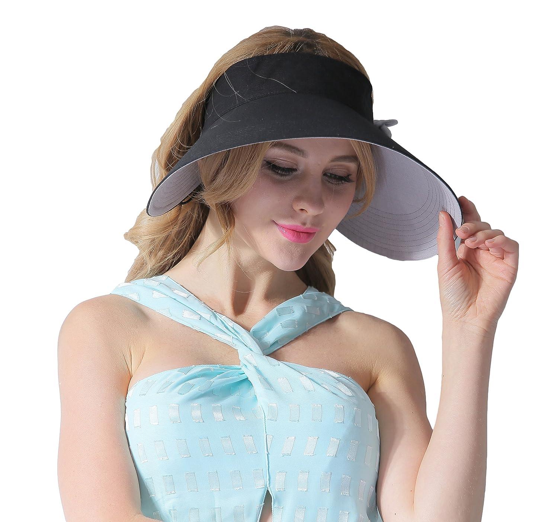 CACUSS Womens Summer Sun Hat Large Brim Visor Adjustable Nylon Buckle Packable UPF 50+
