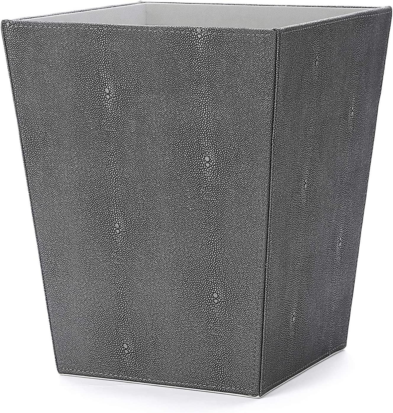 WV Faux Dark Grey Leather Trash Can, Waster Paper Bin, Wastebasket, Magazine Holder Faux Shagreen Finish for Bathroom,Kitchen,Home Office(Dark Grey)