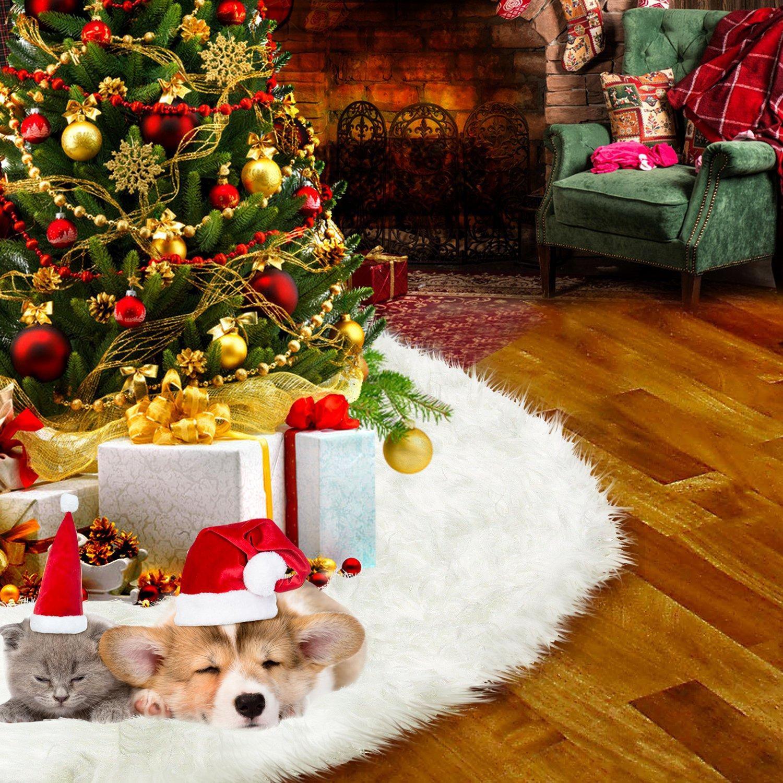 HusDow 30inch 78cm Trees Skirts Plush Christmas Tree Skirt Snow White For Xmas Decoration