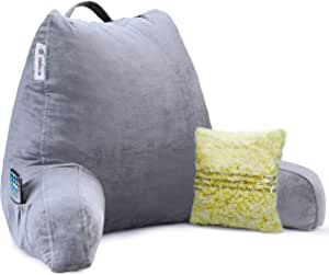 Vekkia Premium Soft Reading & Bed Rest Pillow with Memory Foam, Support Arms, Pockets, Removable Cover. Perfect Back Support for Reading/Relaxing/Watching TV –Extra Foams Incl. Customize Softness-18