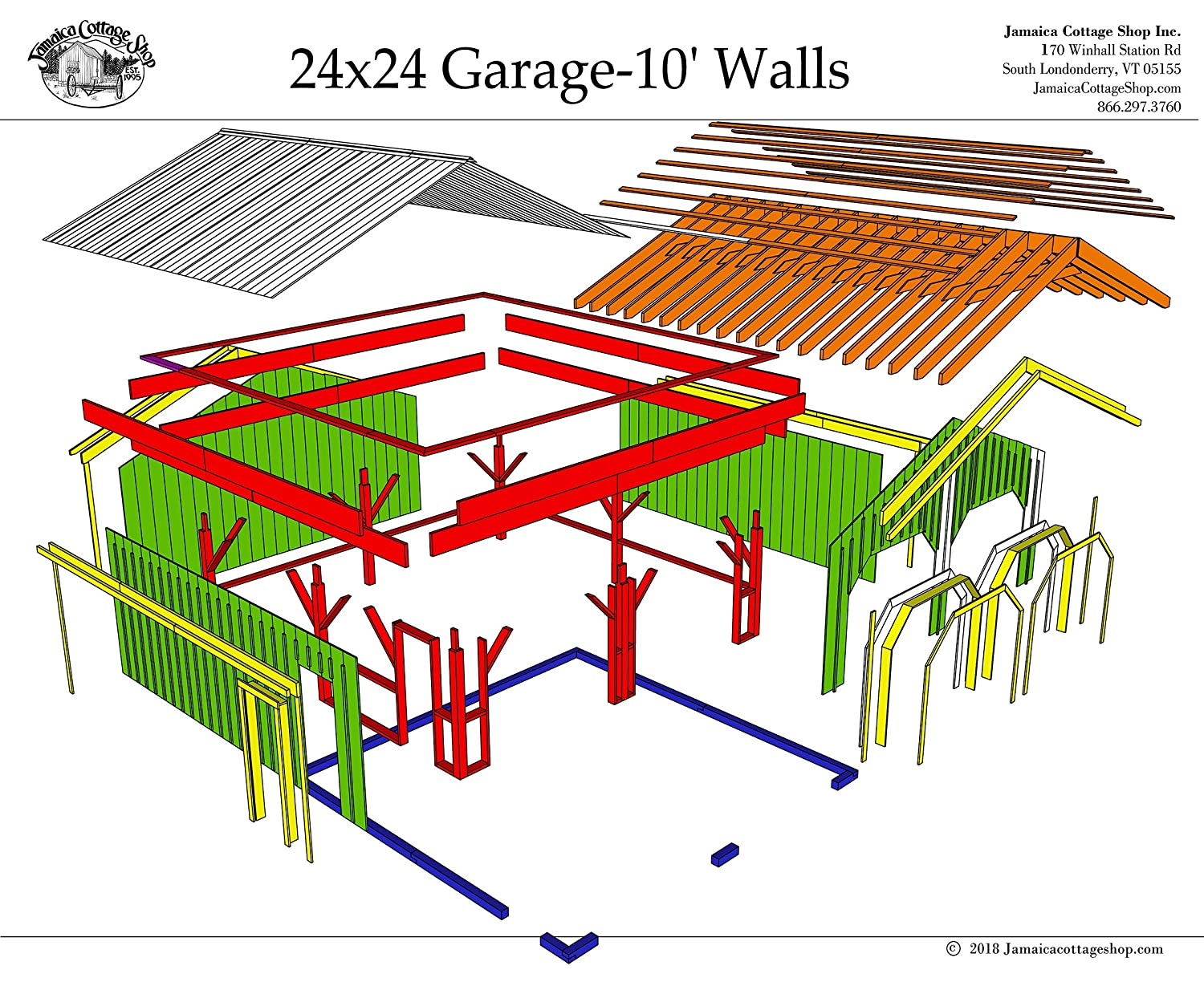 24x24 Timber Frame Post & Beam Garage Plans with 10' Wall