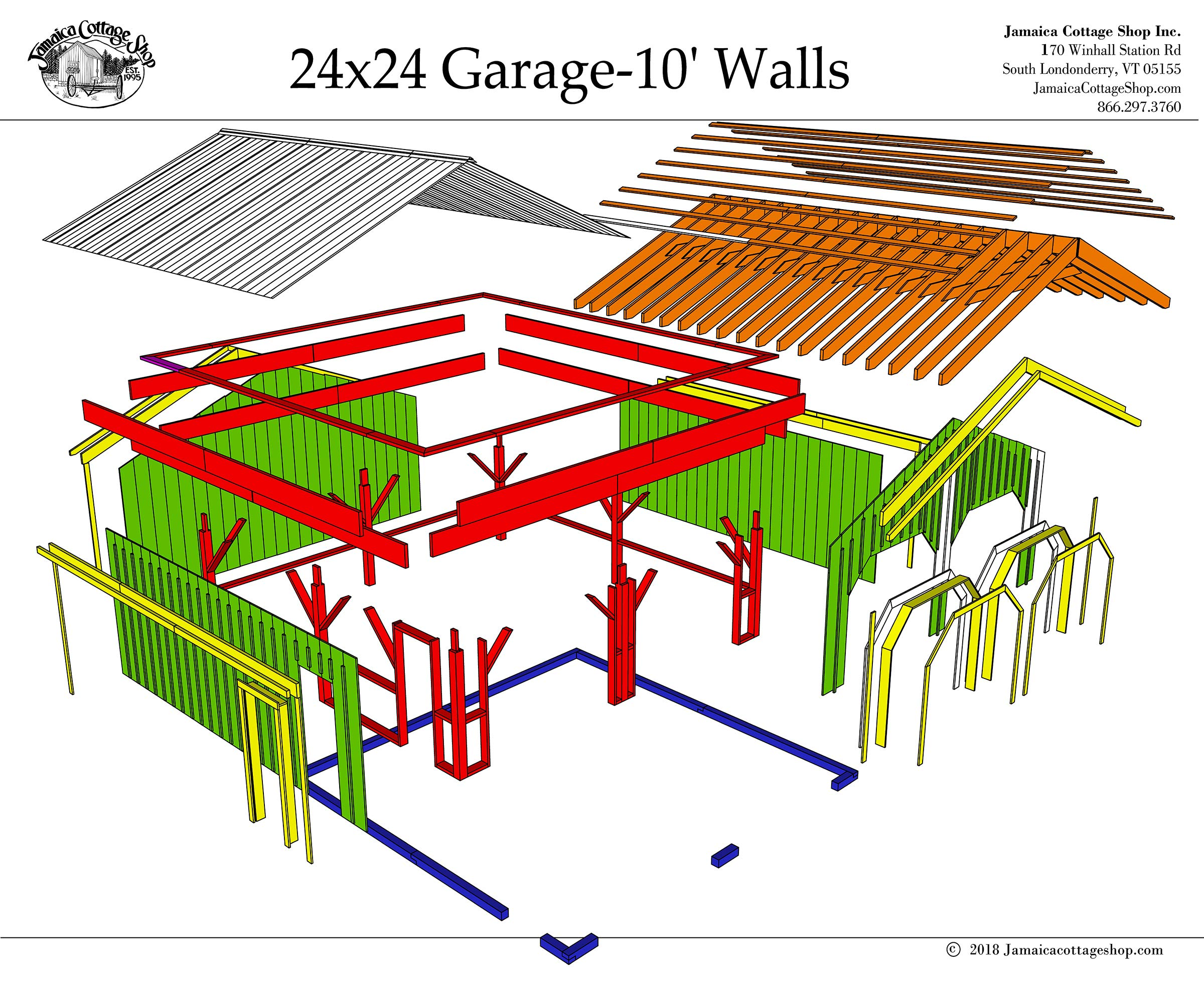 24x24 Timber Frame Post & Beam Garage Plans with 10' Wall Height - Step-By-Step DIY Building Plans by Jamaica Cottage Shop, Inc.