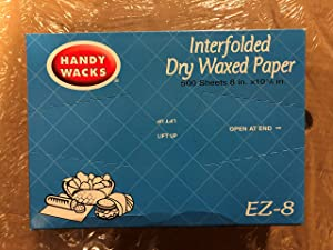[500 Pack] Interfolded Food and Deli Dry Wrap Wax Paper Sheets with Dispenser Box, 8 x 10.75 Inch
