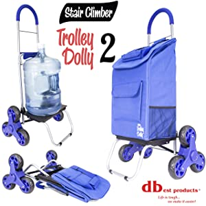 Stair Climber Trolley Dolly 2, Blue Grocery Foldable Cart Condo Apartment