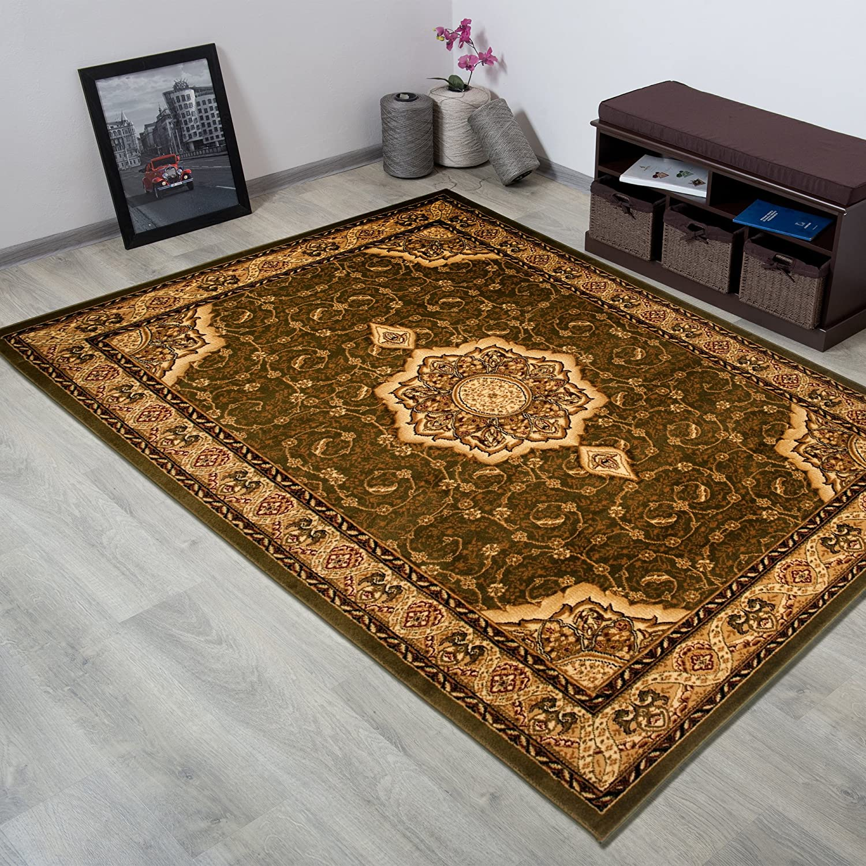 Tapiso YESEMEK Teppich Klassisch Kurzflor Orientalisch Teppiche in Rot Beige Gemustert Floral Ziegler Ornament Bordüre Barock Design Orientteppich Wohnzimmer ÖKOTEX 160 x 220 cm B07BM1NR3J Teppiche