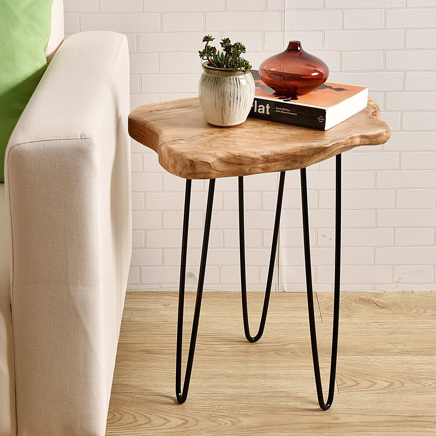 "WELLAND Natural Edge End Table, Wood Side Table, Nightstand, Plant Stand 20.5"" Tall"
