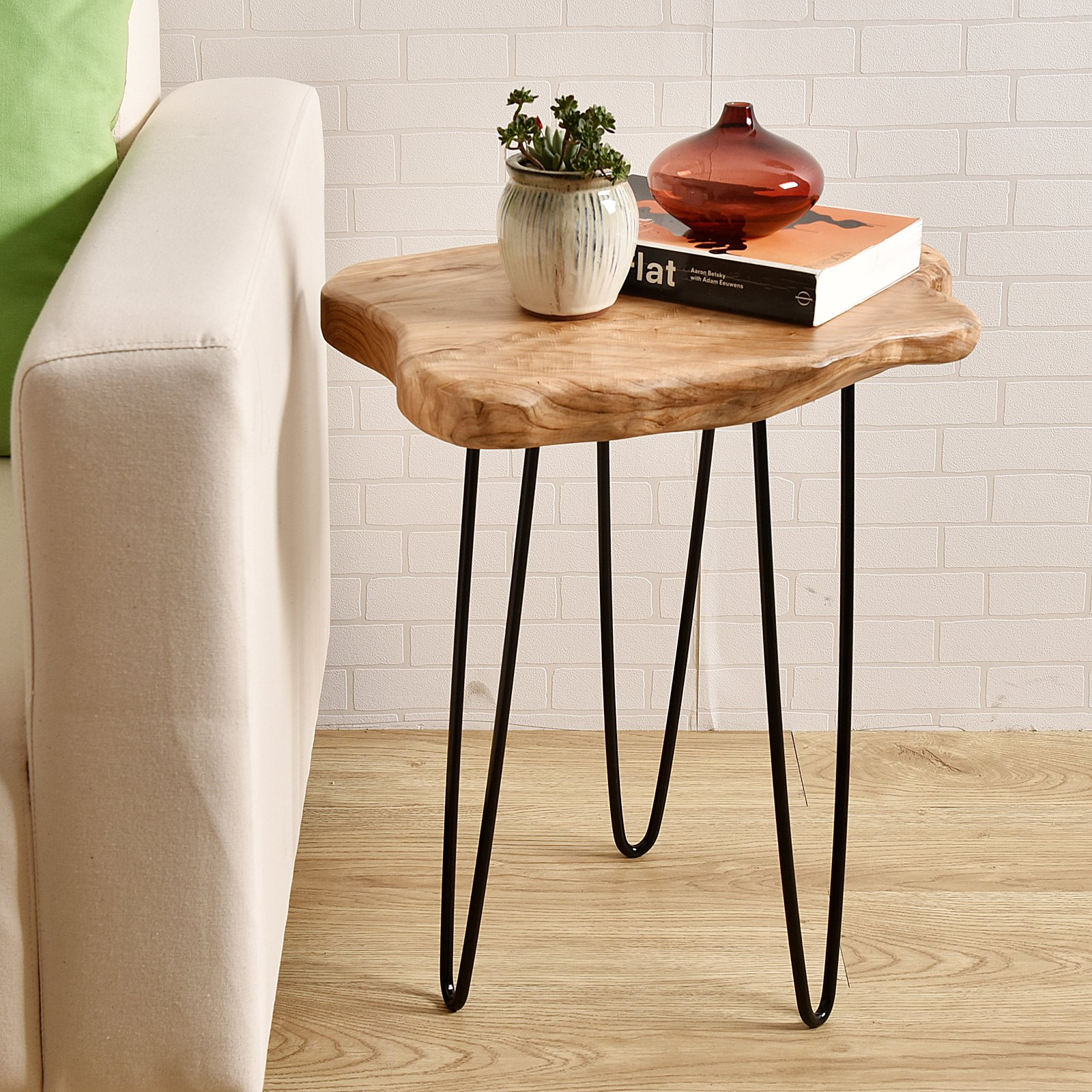 WELLAND Natural Edge End Table, Wood Side Table, Nightstand, Plant Stand 20.5'' Tall by WELLAND