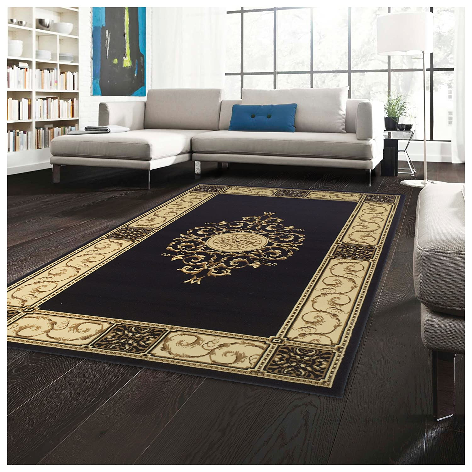 Superior Elegant Medallion Collection 2'7 x 8' Runner Rug, Attractive Rug Jute Backing, Durable Beautiful Woven Structure, Floral Medallion Rug Broad Border - Midnight Blue 2.6X8RUG-ELEGANT-MEDALLION-RP