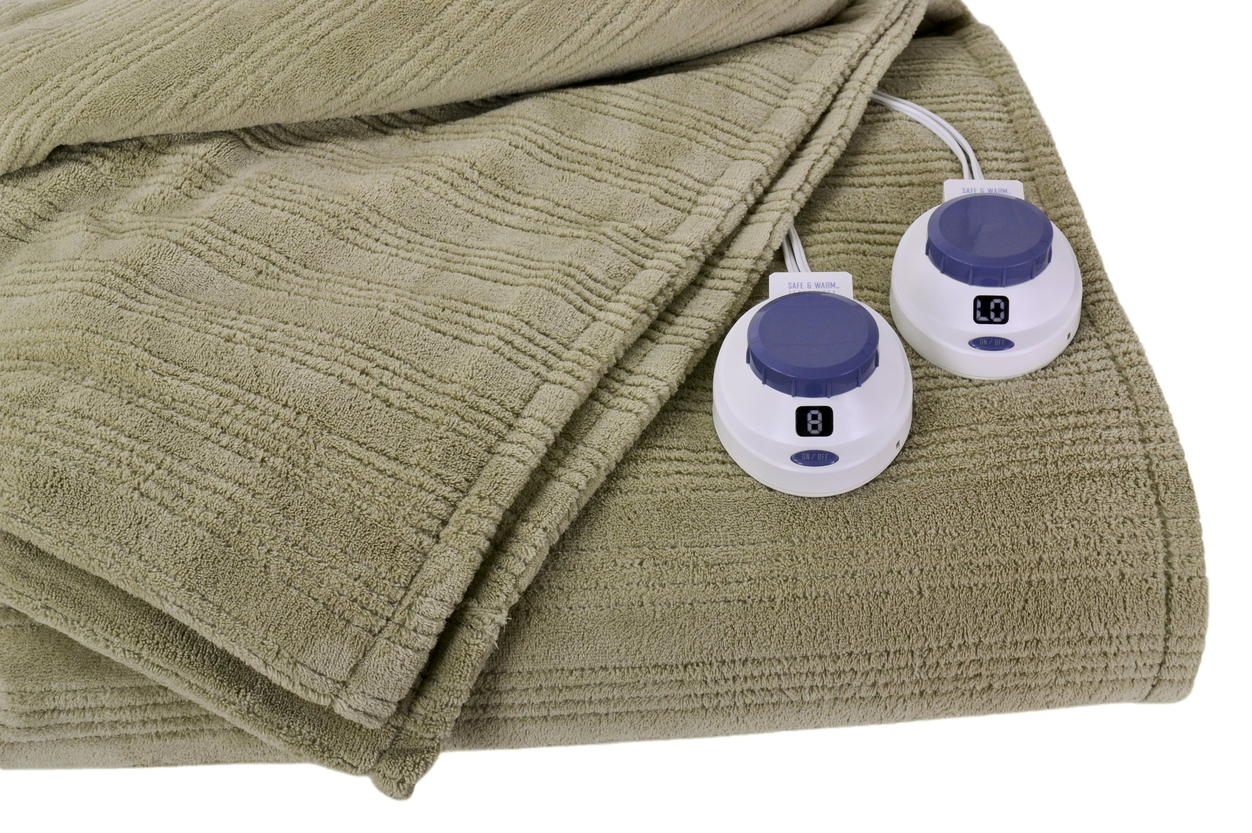 Soft Heat Ultra Micro-Plush Low-Voltage Electric Heated Triple-Rib King Size Blanket, Sage Green