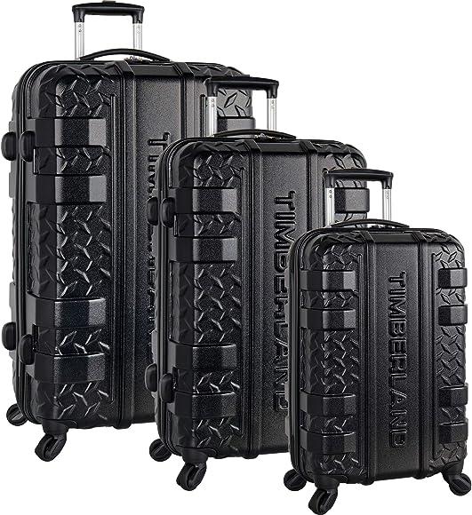 0e46e28c0d Amazon.com | Timberland 3 Piece Hardside Spinner Luggage Set, Black ...
