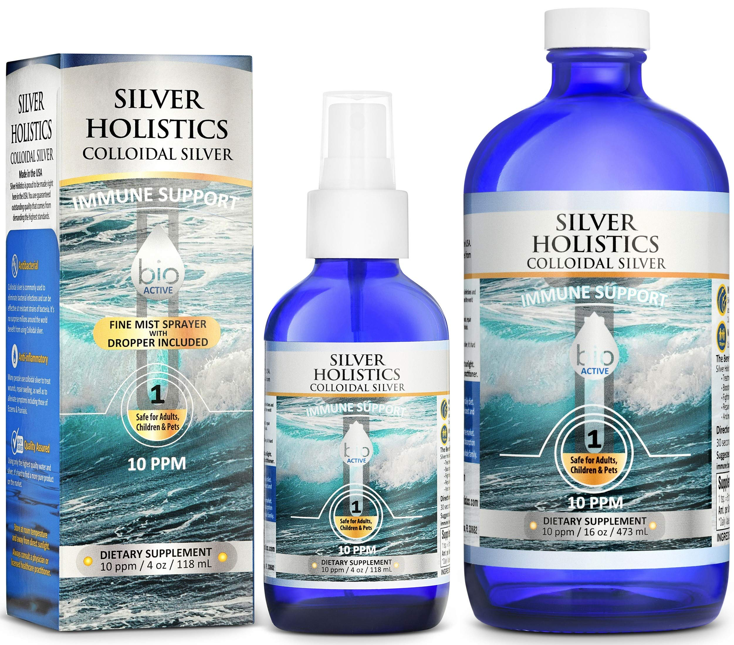 Colloidal Silver Spray Solution 10 PPM Colloidal Silver Liquid in 16 oz and 4 oz Glass Bottle by Silver Holistics by Silver Holistics