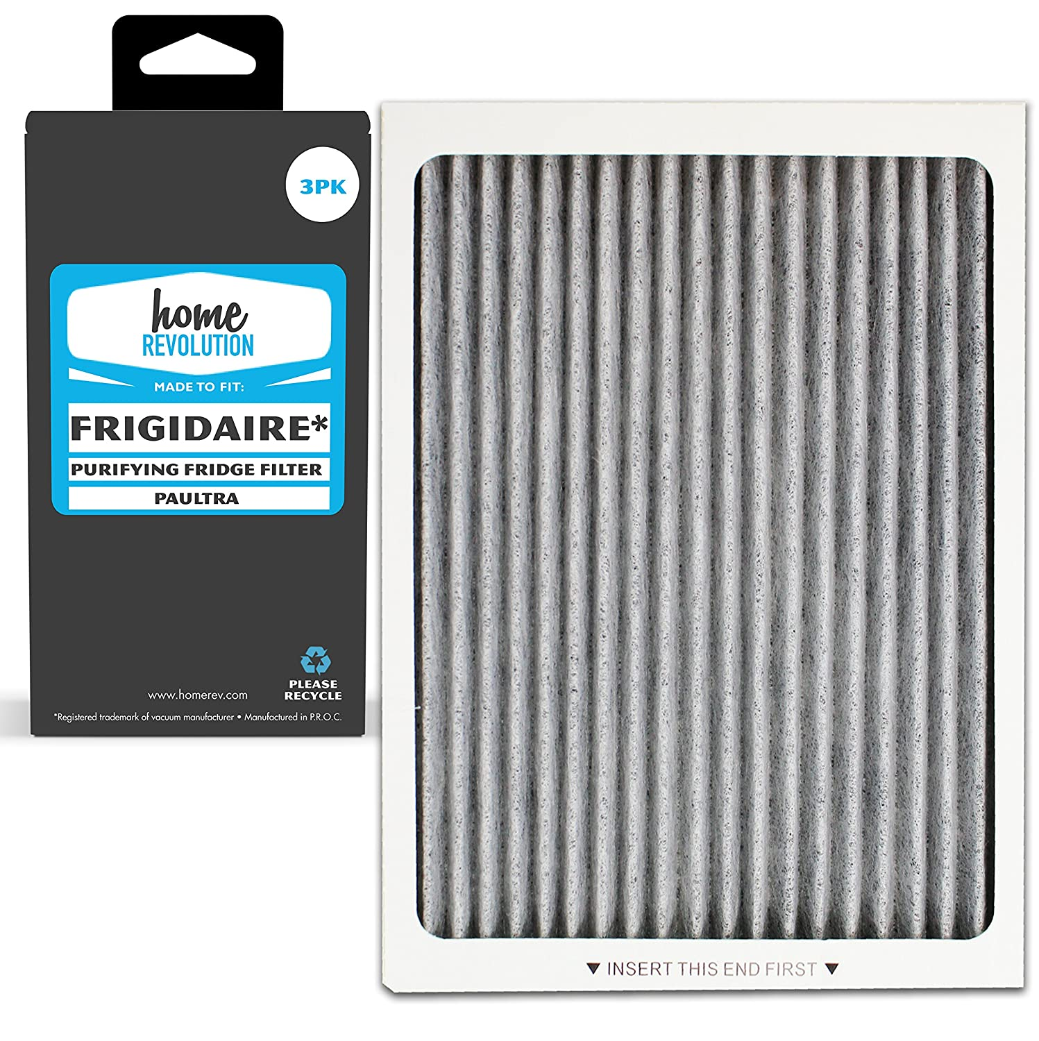 3 Home Revolution Replacement Refrigerator Air Filters, Fits Frigidaire PAULTRA Pure Air Ultra & Electrolux EAFCBF