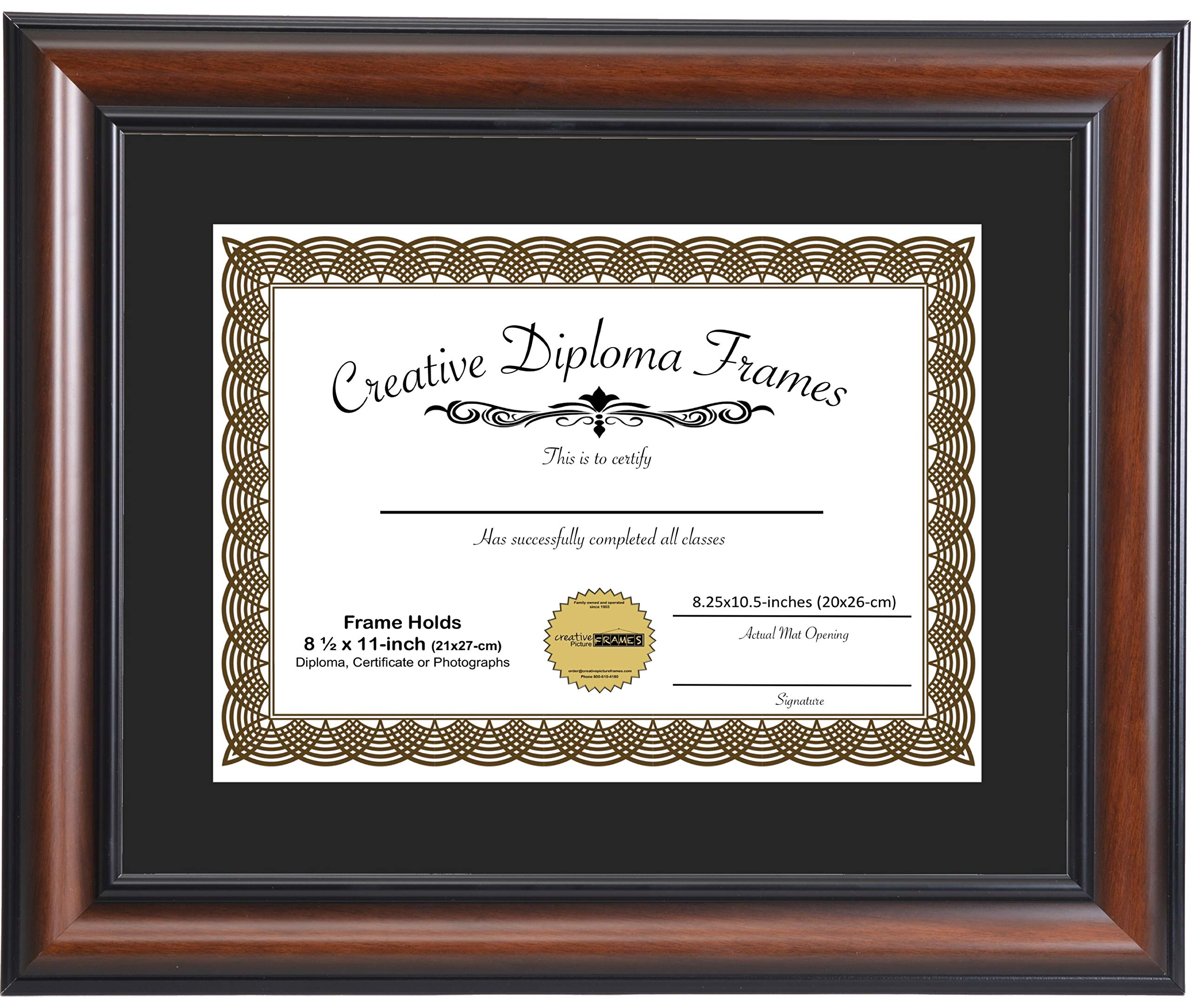 CreativePF [wal5171-b] Eco-Walnut Collection 11x14-inch Wood Finish Picture Frame with Black/White Core Matting Holds 8.5x11-inch Media, with Installed Hangers for Either Orientation