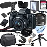 Canon EOS M50 Mirrorless Digital Camera Video Kit with 15-45mm Zoom Lens + Shot-Gun Microphone 6 + LED Always on Light+ 128GB